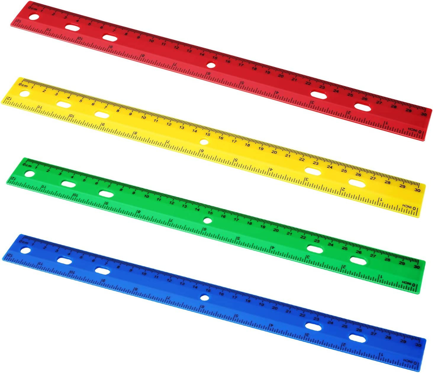 Chuangdi 20 Pieces 12 Inch Plastic Rulers, Straight Ruler Office Rulers School Rulers (4 Colors): Industrial & Scientific