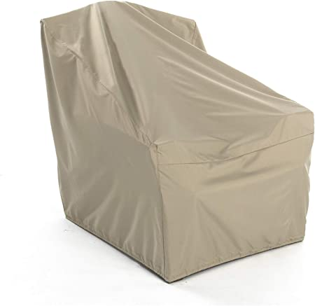 Double Stitched Seams 300D Stock-Dyed Polyester Buckle Straps Khaki Rectangular Ottoman Cover Weather Resistant Elite Covermates 40W x 28D x 22H 3 YR Warranty
