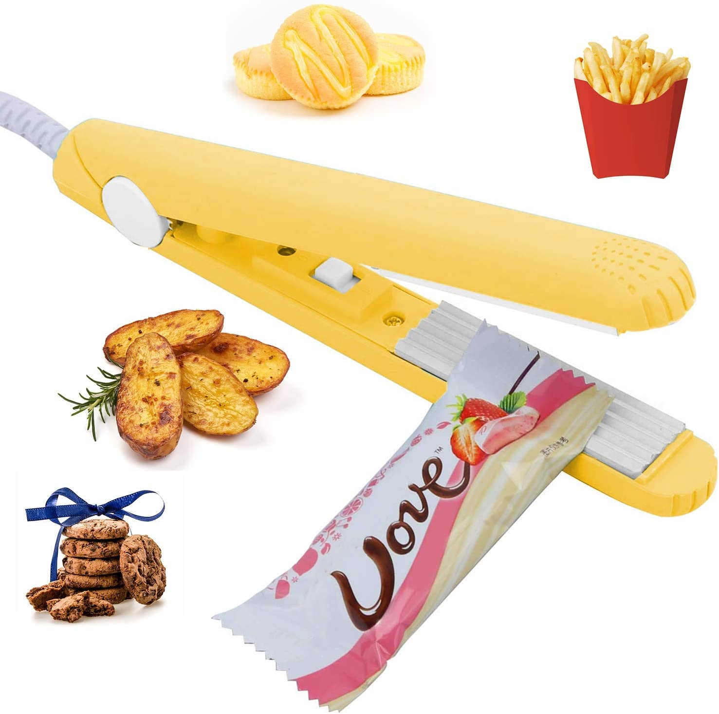 "Smart Bag Sealer Heat Seal Handheld for Food Storage, Portable Food Sealer Heat Sealing Machine with 45"" Power Cable for Small Plastic Bags, Vacuum Sealer Bags, Chip Bags, Snack Bags -Yellow"