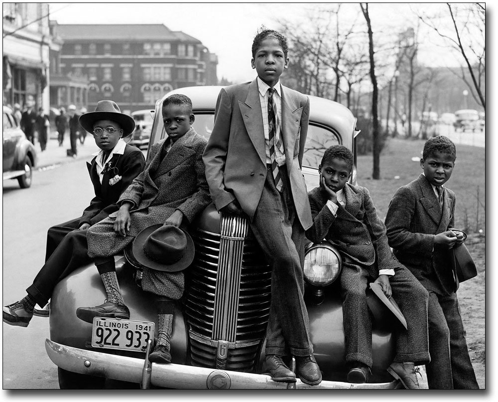 Negro Boys Easter Morning in Chicago 1941 11x14 Silver Halide Photo Print
