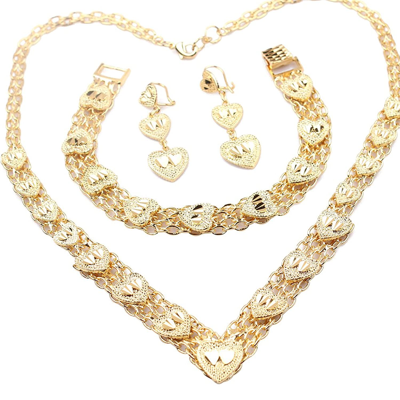 Loyoe Jewelry 24k Gold Plated Womens Necklace Bracelet Earrings Set Heart Shape Wedding Jewelry Set