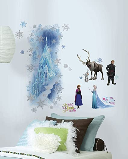 Roommates Frozen Wall Decals Stickers Set, Large Castle Wall Mural With 36  Glitter Wall Decals