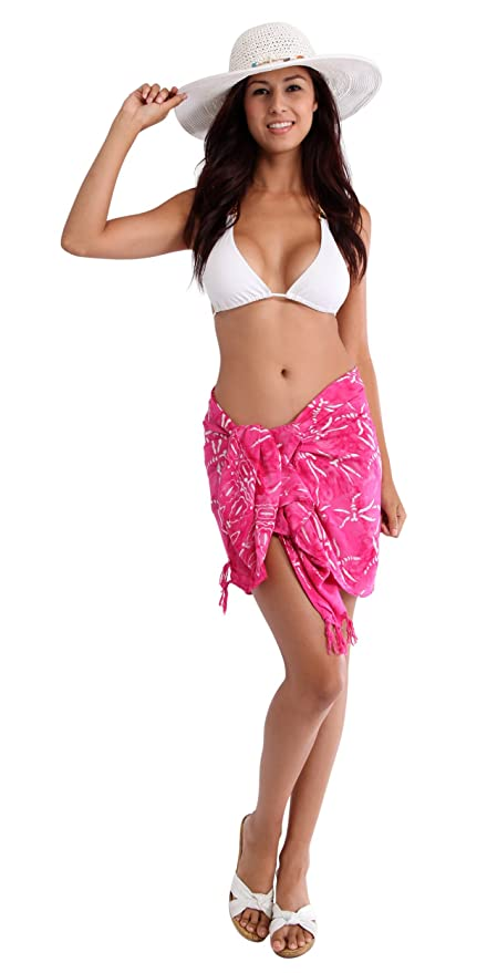 3ddcafe416 1 World Sarongs Womens Dragonfly Half Mini Swimsuit Cover-Up Sarong in Pink