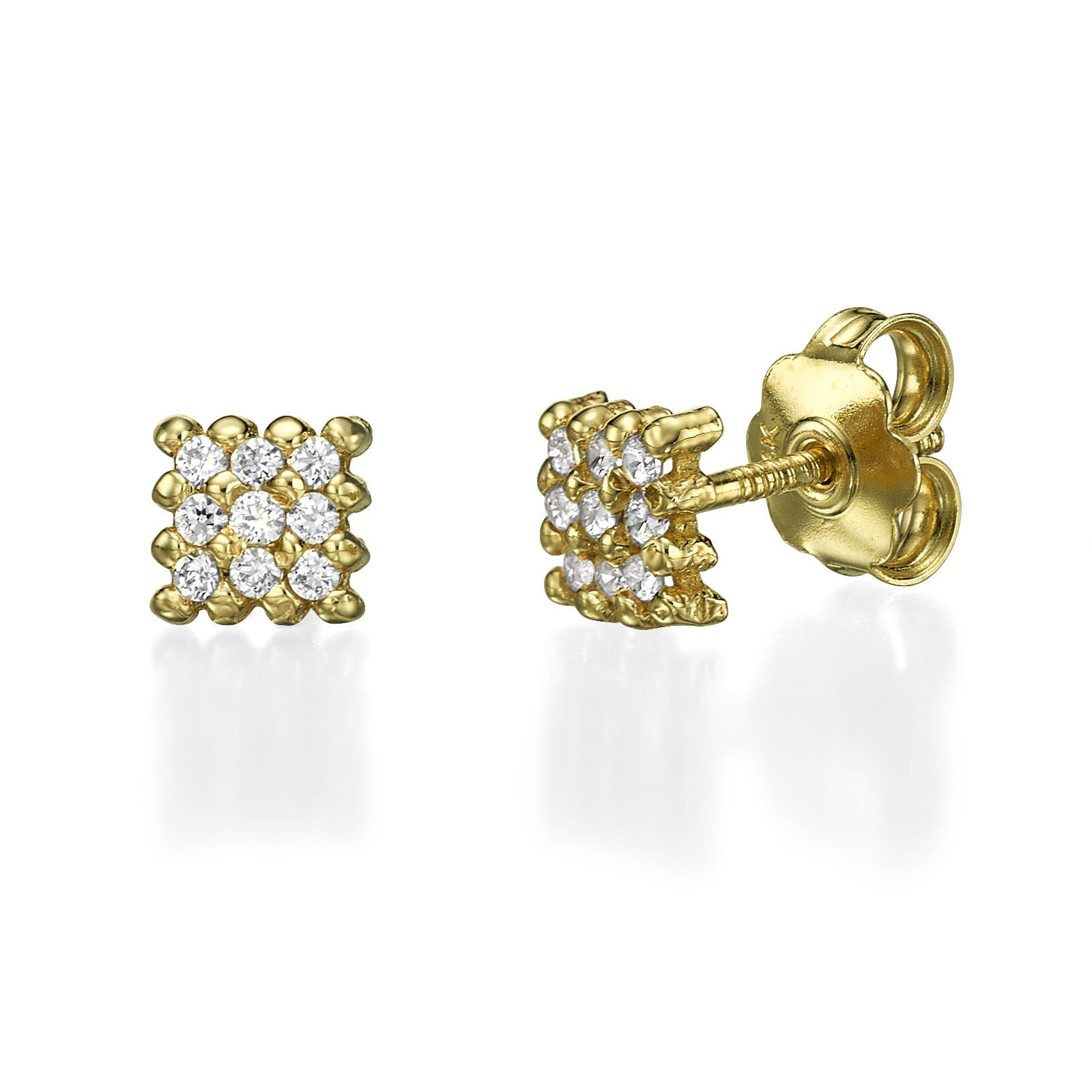 14K Solid Yellow Gold Cubic Zirconia ''Charm'' Girls and Teens Screw Back Stud Earrings