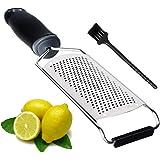HAUEA Cucina Formaggio Grattugia Affettatrice Verdura Limone Zester con Coperchio Protettivo e Manico in Acciaio Inox Lama