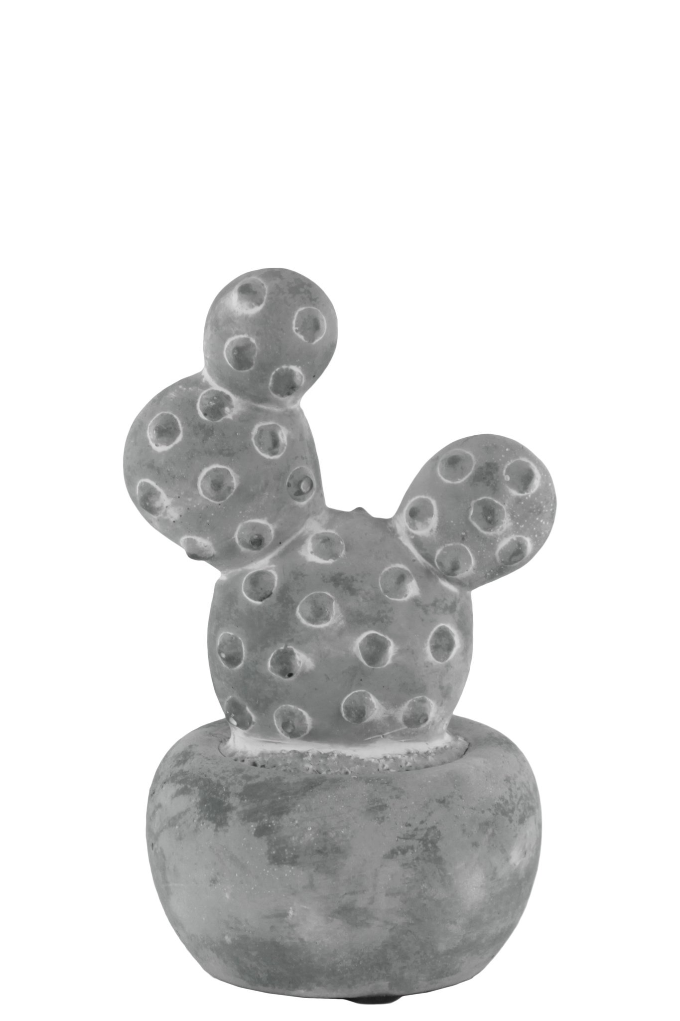 Urban Trends 53602 Cement Cactus Prickly Pear Figurine on Round Base Small Washed Concrete Finish, Gray