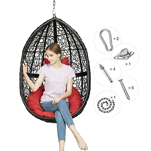 Greenstell Rattan Wicker Egg Hammock Chair with Hanging Kits,Weather Fastness Hanging Chair with Comfortable Red Cushion and Pillow,Basket Swing Chair for Indoor,Outdoor Bedroom,Patio,Garden Black