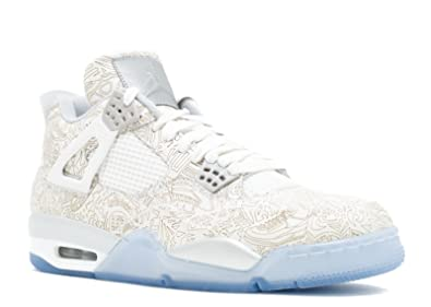 Air Jordan 4 Retro Laser Men's Shoes White/Chrome-Metallic Silver 705333-105