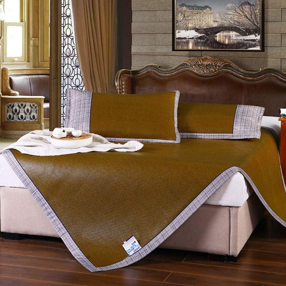 AMYDREAMSTORE Summer Sleeping mat,Foldable Cooling Mattress Topper pad Rattan Sleeping mat Pillow Shams Set-X 120x195cm(47x77inch)