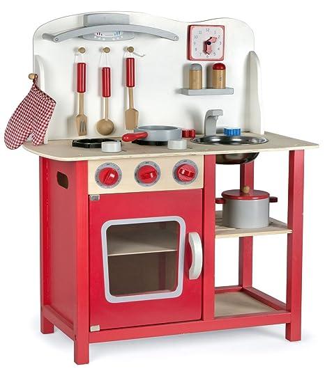 leomark cucina classic rosso giocattolo in legno cucina accessoriata per bambini educazione tavola divertimento accessori da