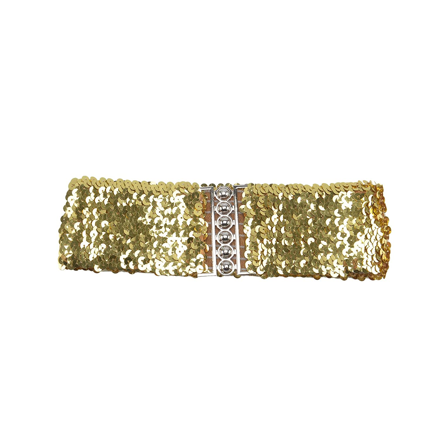 DHOUTDOORS Sequins Belt Bling Shining Wide Waistband Elastic Stretchy For Dress Women Lady Girls