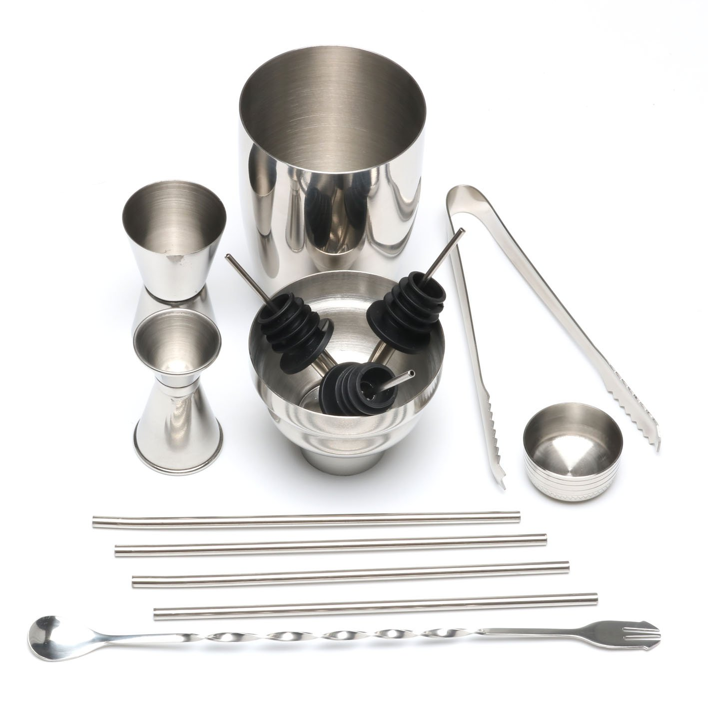 Edofiy 12-piece Stainless Steel Cocktail Shaker Set-Bar Tool Set With Bar Spoon/Fork,2 Meauring Jiggers,3 Pourers,4 stainless steel straws & Cocktail Recipes-Perfect To Mix Any Drink