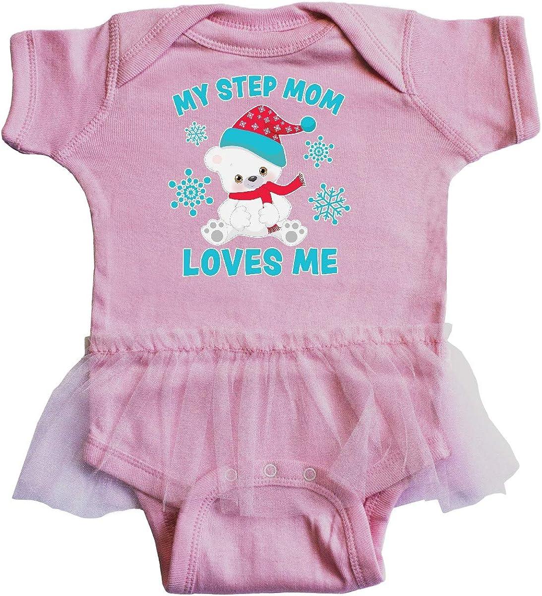 inktastic Polar Bear My Step Mom Loves Me in Santa Hat with Infant Tutu Bodysuit