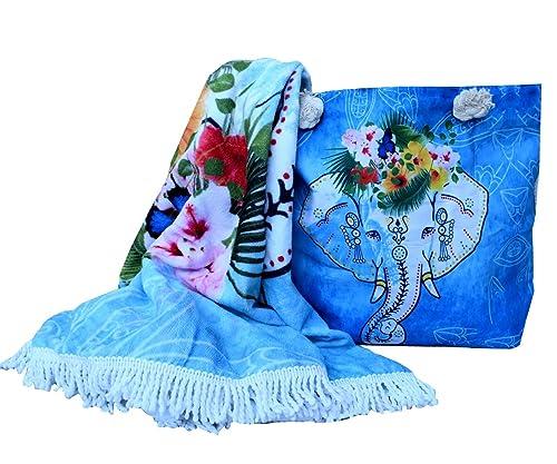 forneret Bolso grande+toalla redonda+monedero diseño elefante verano 2018 con asas de cuerda marinera: Amazon.es: Zapatos y complementos