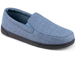 ZIZOR Men's Henry Tartan Slippers with Cozy Memory Foam, Cotton Knit House Slippers for Dad Slip On, Lightweight Closed Back