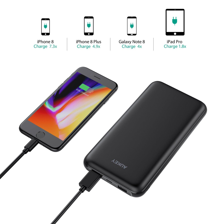 iPad ECC. Samsung S8// S8+ Caricabatterie Portatile con 2 Porte e Ingresso Lightning Batteria Portatile per iPhone X// 8//7// Plus AUKEY Power Bank 20000mAh
