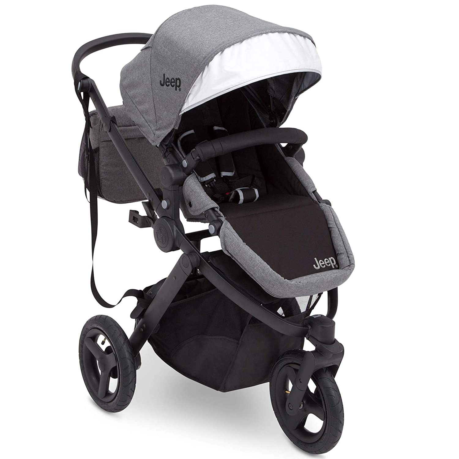 Jogging Stroller All Terrain Baby Jogger Sport Utility JPMA Safety Certified J is for Jeep Brand Grey on Black Frame