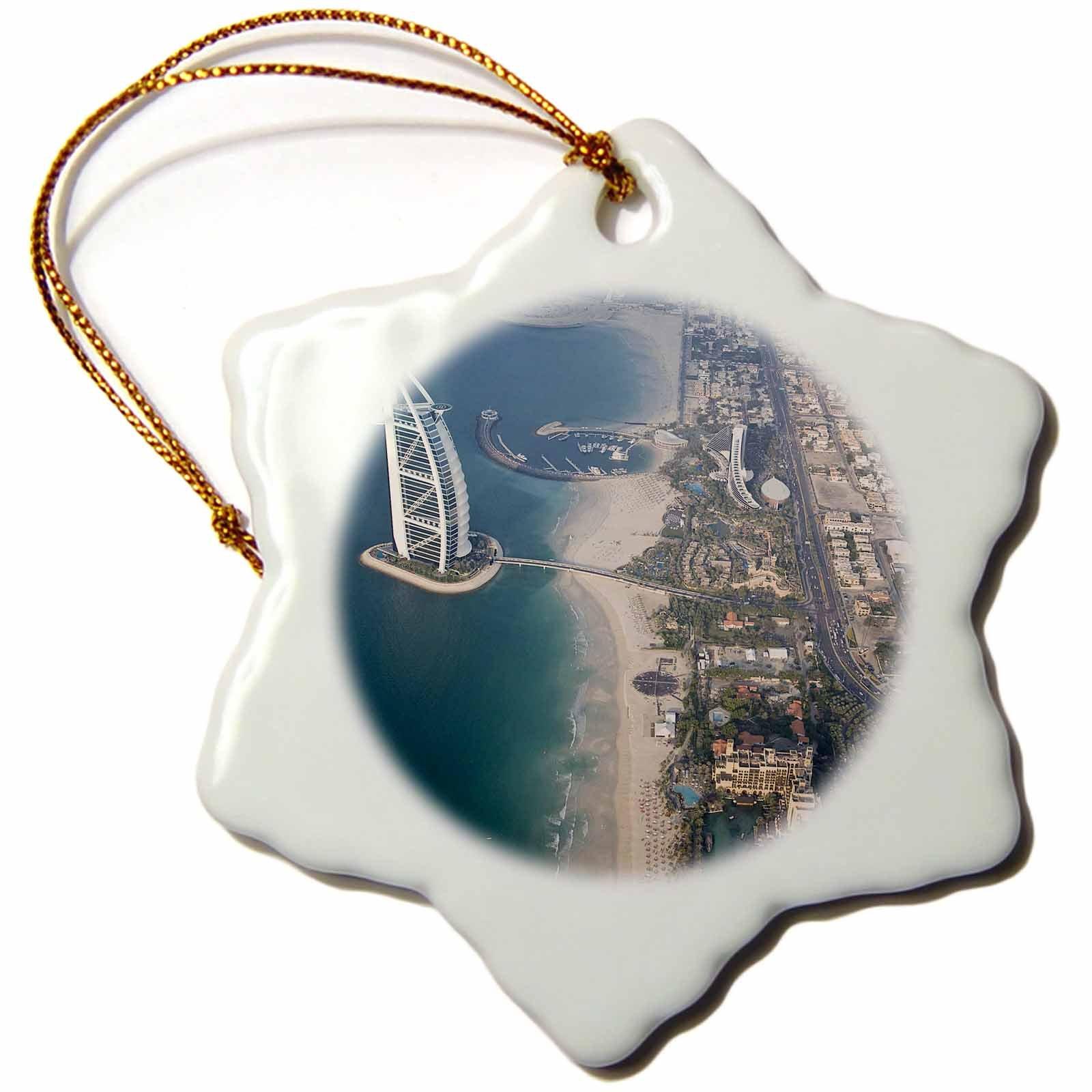 3dRose orn_71585_1 UAE, Dubai, Burj al Arab Hotel and Neighborhood AS44 BJA0140 Janyes Gallery Snowflake Porcelain Ornament, 3-Inch