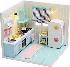 HETOMI DIY Dollhouse Miniature Kit with Furniture, 3D Mini House with Furniture and Dust Proof/Cover Accessories, 1:24 Scale Kitchen Creative Room Idea