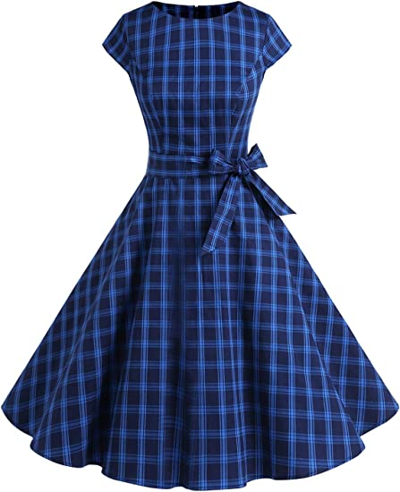 TALLA XS. Dressystar Vintage 1950s Polka Dot and Solid Color Prom Dresses Cap-Sleeve Navygrid XS