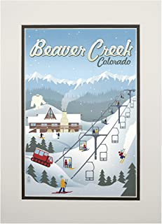 product image for Beaver Creek, Colorado - Retro Ski Resort (11x14 Double-Matted Art Print, Wall Decor Ready to Frame)