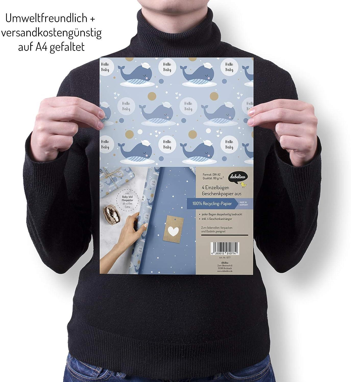 + 4 etichette regalo Its a boy, Blu, Wal Carta da regalo per neonati double-face 4 fogli singoli