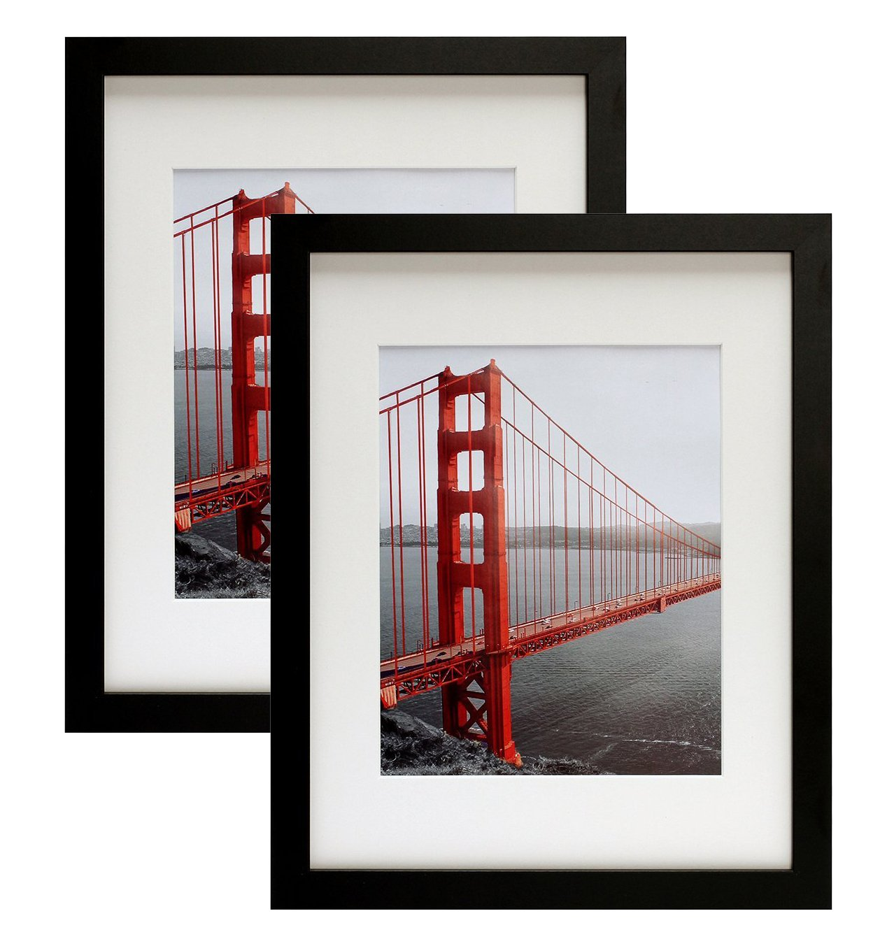 Frametory, Two 11x14 Contemporary Black Picture Frames - Wide Molding - Wall Mounting Ready (2 pc, 11x14) by Frametory
