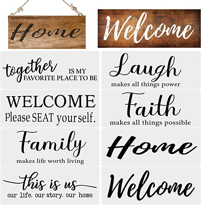 8 Pieces Welcome Sign Stencil Funny Family Sign Stencil Reusable Stencils for Painting on Wood Front Door Alphabet Flower Stencils Porch or Outside Home Decor