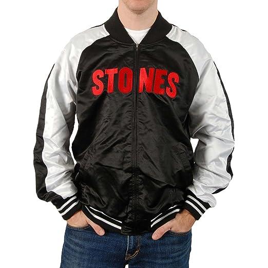 f9742f7c28f Rolling Stones Men s RS Stones Silk Varsity Mens Jacket Varsity Jacket  Small Black White