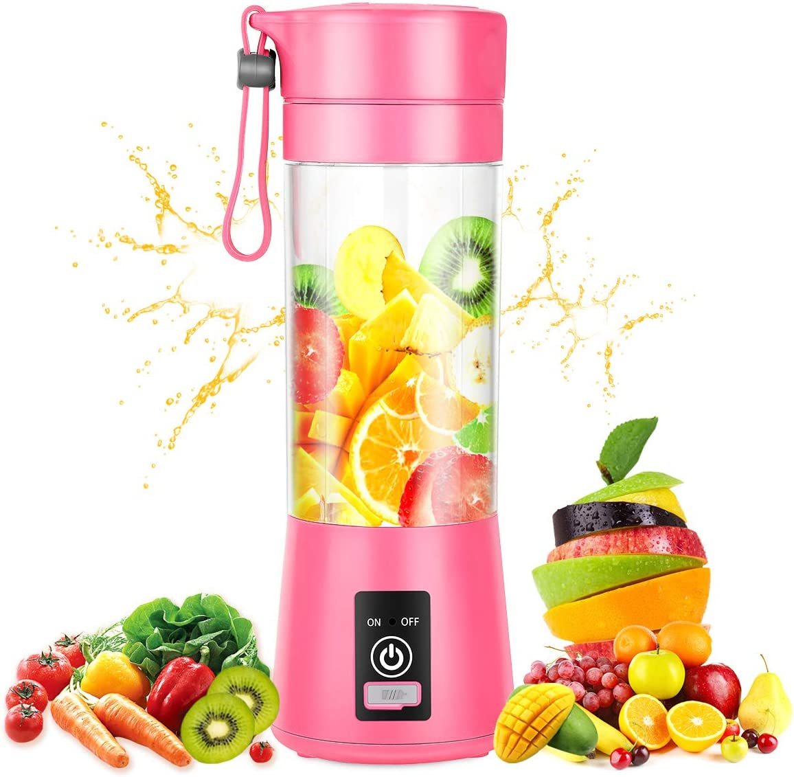 Portable Blender,Personal Blender with USB Rechargeable Mini Fruit Juice Mixer,Personal Size Blender for Smoothies and Shakes Mini Juicer Cup Travel 380ML(Pink)