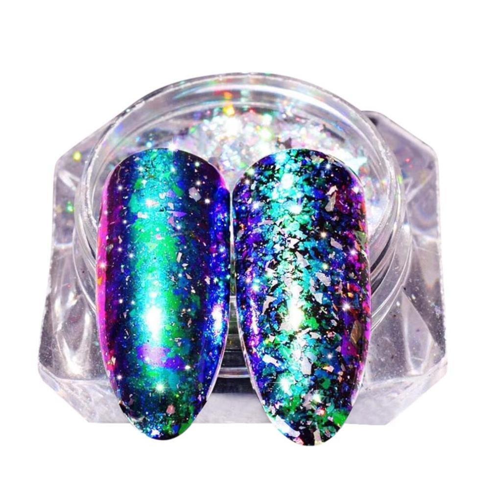 Boîte de poudre holographique, Sensail poudre scintillante arc-en-ciel avec pour décoration d'ongles (J)
