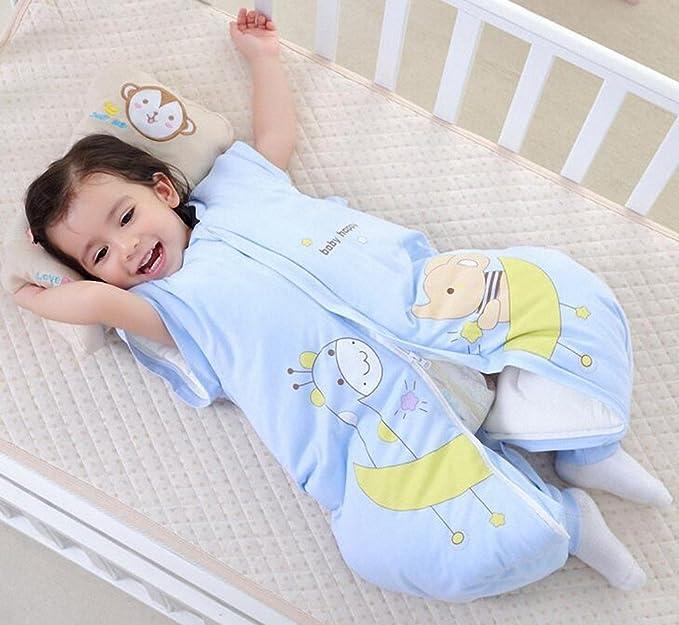 Saco de dormir para bebé invierno manga algodón larga - Garcon - niña Happy Dream pijama niño Confort combinación de patas. azul Éléphant-Girafe-Bleu ...
