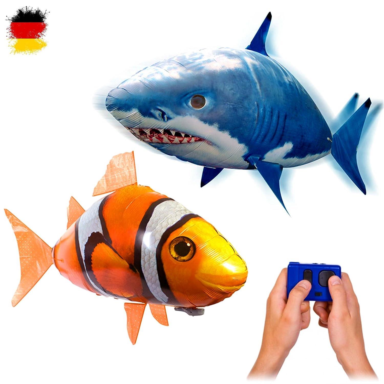 MEGA-SET bestehend aus 2 x riesengroße Fische RC R/C ferngesteuerter fliegender Fische - Clownfisch + Sharky Hai - Ferngesteuerte Riesenfische, Mit Helium gefüllt schwebt er in der Luft, Neu HSP HIMOTO FLYING FISH SET