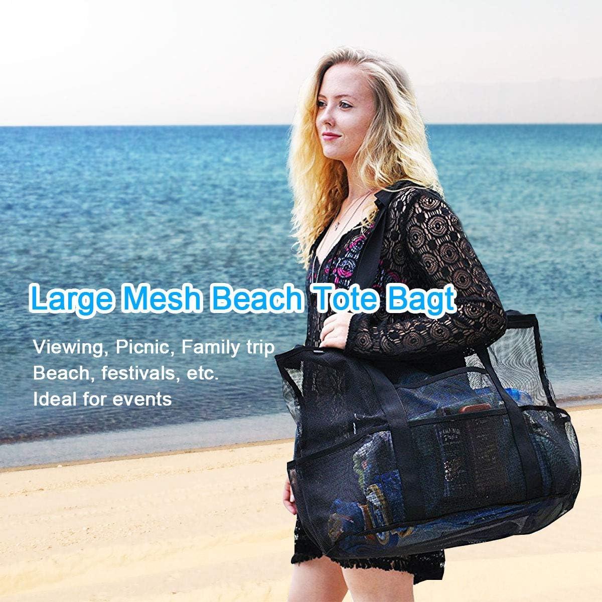 bolsa de hombro multifuncional bolsa de almacenamiento para juguetes liviana plegable reutilizable grande Bolsa de playa de malla bolsa de playa para la familia al aire libre