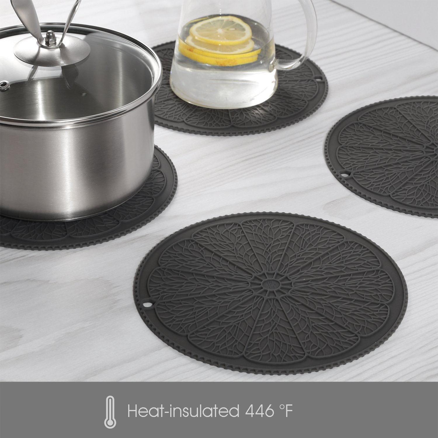 Silicone Trivet (4-Piece Set) for Hot Pots, Dishes and Pans, Insulated Durable Hot Pads, Hot Holder(Gray) - IDDOMUM