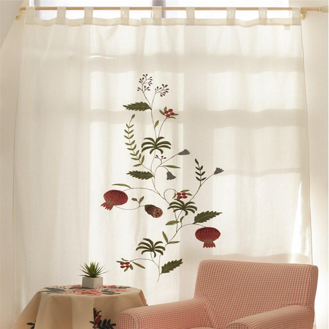 eanshome Country Style flor bordado Tela de algodón cortina opaca para salón o dormitorio, tela, Blanco, 180 x 260cm(70.87
