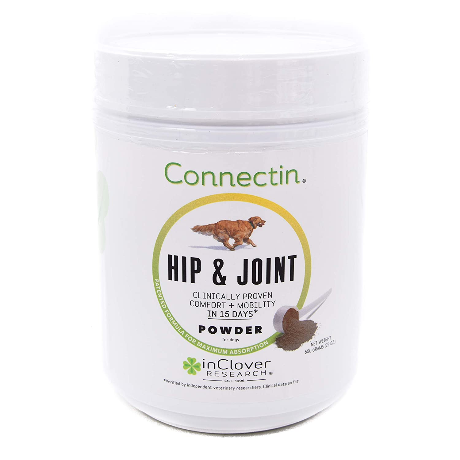 In Clover Connectin Hip and Joint Tablet Supplement for Dogs, Combines Glucosamine, Chondroitin and Hyaluronic Acid with Herbs.