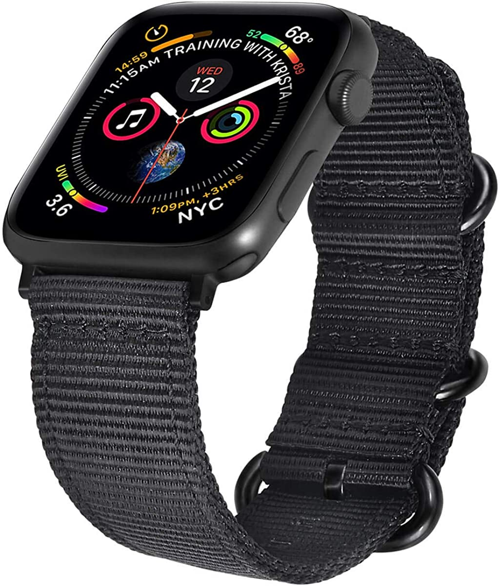 WareWel Compatible Nylon Apple Watch Band 44mm 42mm Mens and Womens Nylon Band Fit iWatch Series 6, 5, 4, 3, 2, 1, SE, Sport, Rugged Sports Strap for Men and Women