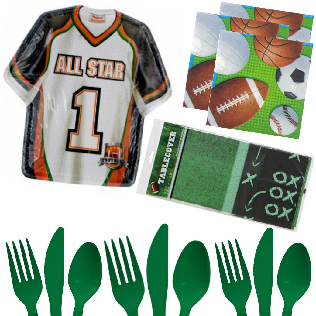 Football Party Birthday Supplies Game Day Set - Plates Napkins Tableware Utensils Cover Kit for 16 by PRHS (Image #1)