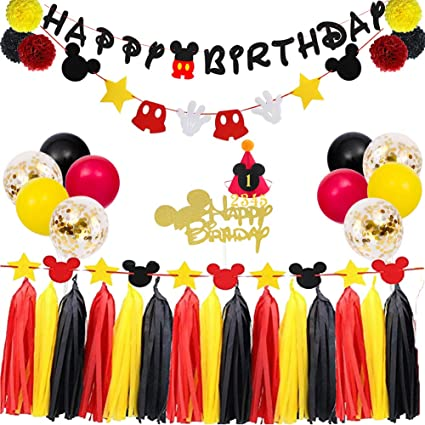 TownLights Birthday Decorations Mickey Mouse Kit,Birthday Party Supplies,Birthday Banner and Garland,Mickey Mouse Hat and Cake Topper For Baby Shower ...