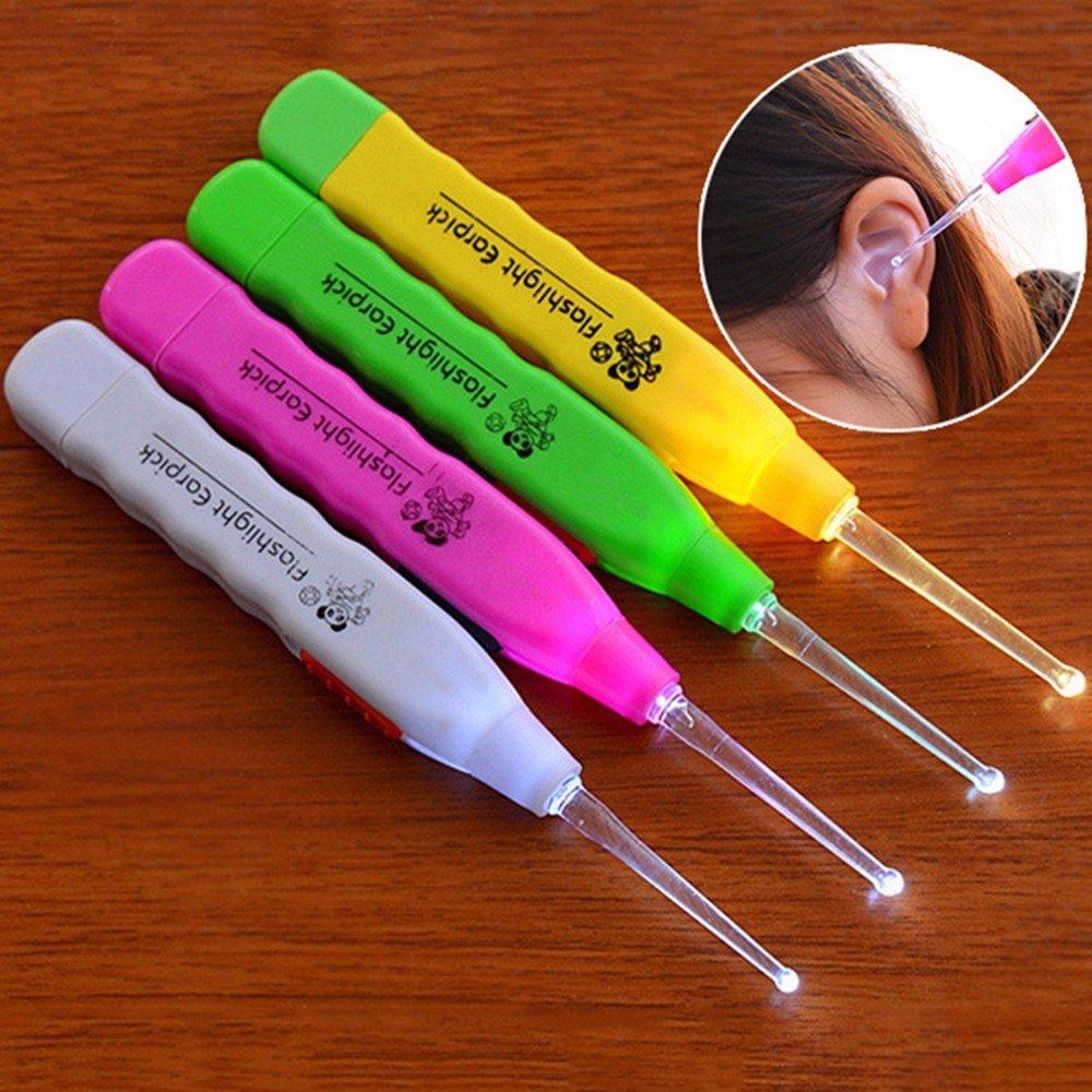 Lampe de poche LED Aohang cure-oreilles curette oreille Cuill/ère Pince /à /épiler c/érumen Remover Outil de nettoyage avec trois Accessoires couleur al/éatoire