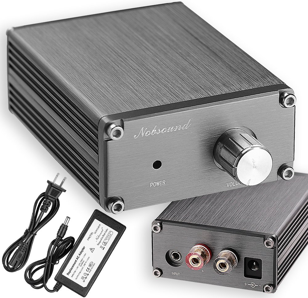 Nobsound 100W Full Frequency Mono Channel Digital Power Amplifier Audio Mini Amp Home Speaker with Power Supply (Gray) by Douk Audio