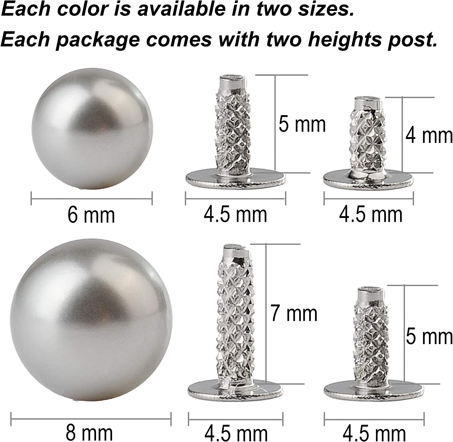 100 Sets 6MM Blue Pearl Rivet Studs for Clothing Imitation Pearl Studs for Clothes Rivet for Leather Craft Shoes Belts Bags Hats Skirts Beads Accessories DIY with 2 Heights of Shank