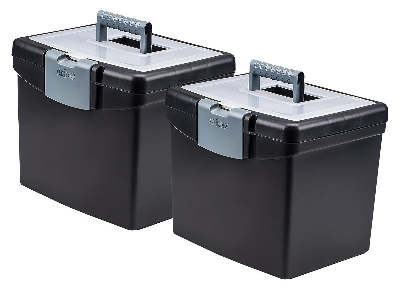 Storex Portable File Box, 10.88 x 13.25 x 11-Inch, Black, Case of 2 (STX61504B02C)