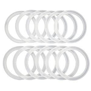Reusable Snap Fit Seals by County Line Kitchen for Ball Plastic Mason Jar Lids, Gasket Will Not Fall Out, Wide Mouth, 12 Seals