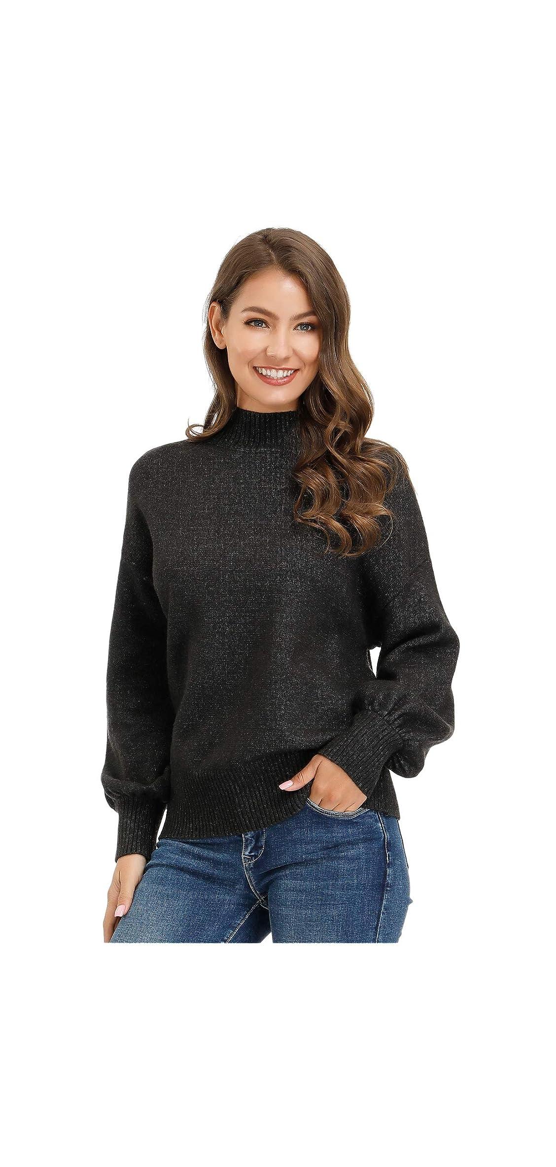 Women's Mock Sweater Knit Dropped Shoulder Lantern