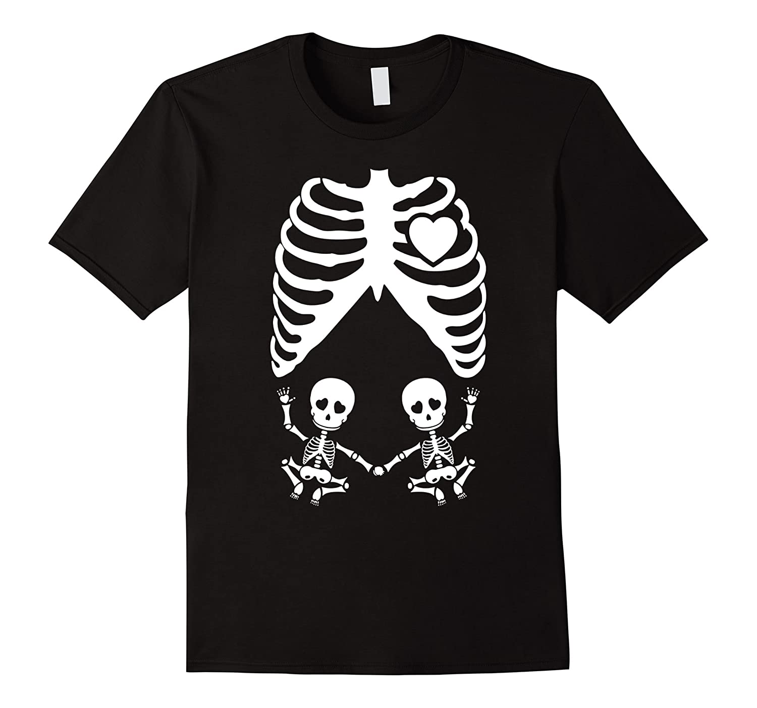 Xray Maternity Twins Tshirt Skeleton Twins - Halloween Party-RT