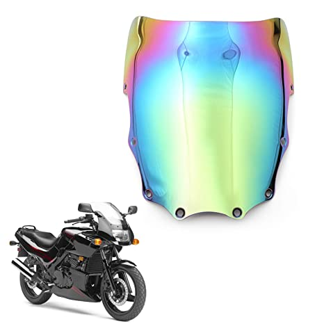 Areyourshop ABS Moto Windshield Windscreen For Kawasaki EX500 Ninja 500R 1987-2009 Iridium