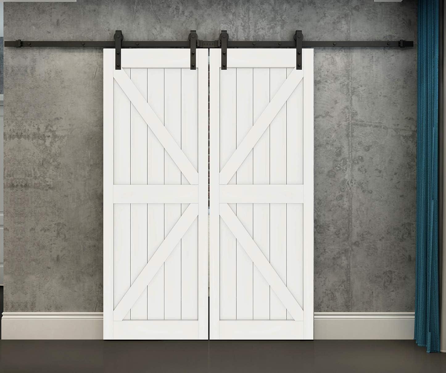 DIYHD 13ft Rustic Black Double Sliding Barn Wood Door Hardware Interior Sliding Wood Closet Door Sliding Track Kit (13.2ft Track Kit)