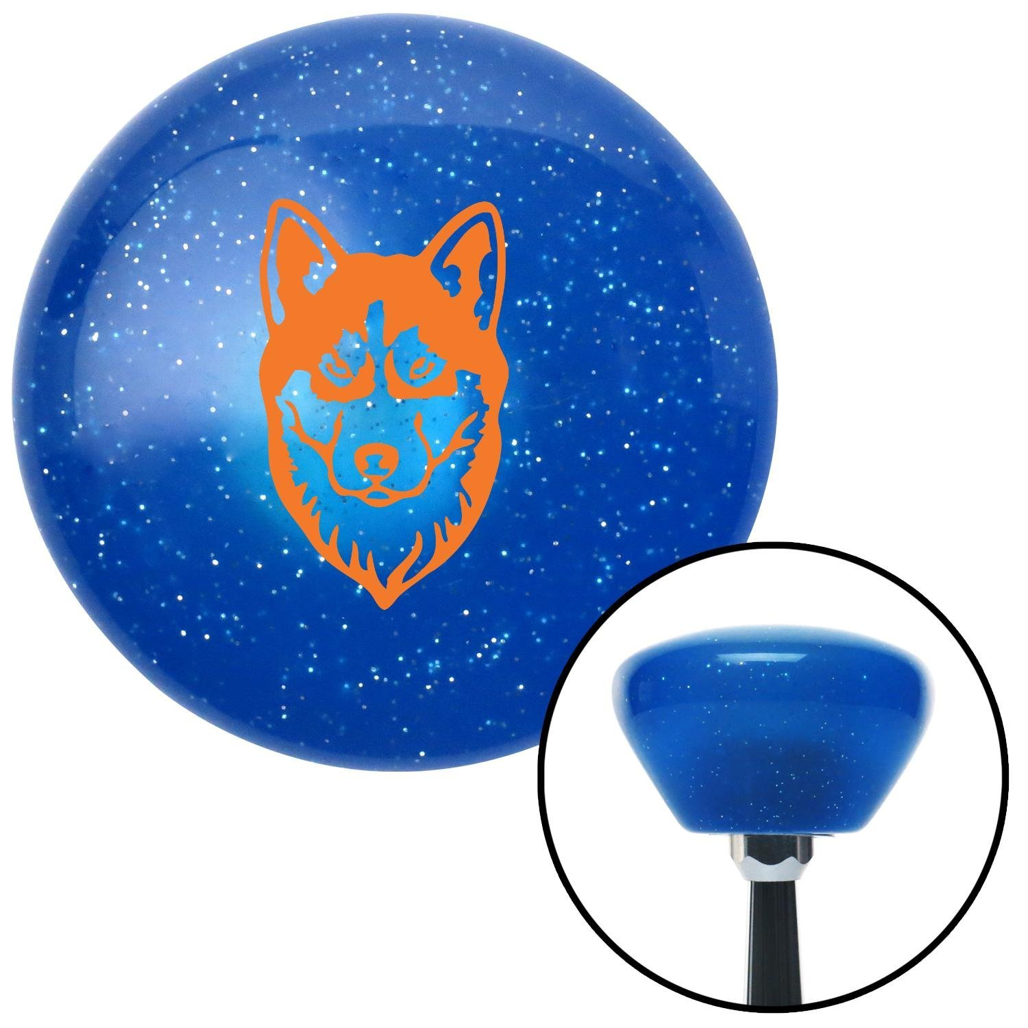 American Shifter 190952 Blue Retro Metal Flake Shift Knob with M16 x 1.5 Insert Orange Husky